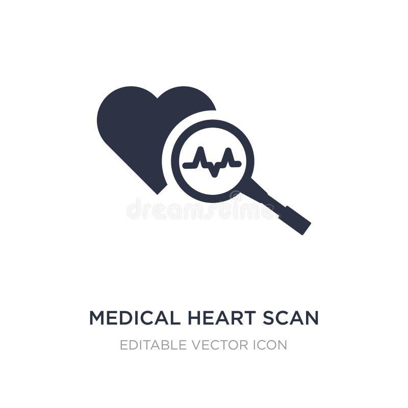 ícone médico da varredura do coração no fundo branco Ilustração simples do elemento do conceito médico ilustração do vetor