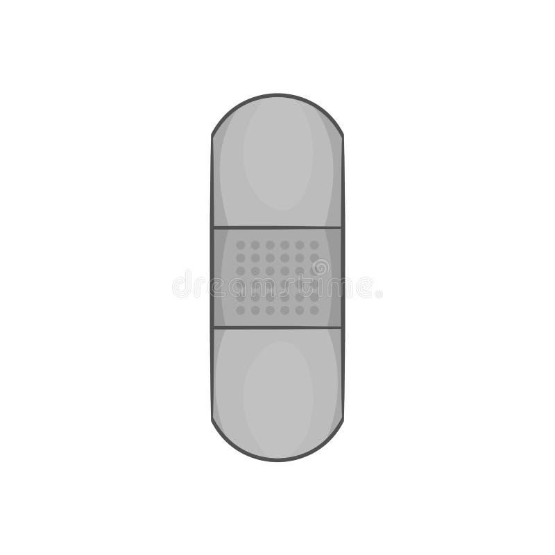 Ícone médico do emplastro, estilo monocromático preto ilustração stock