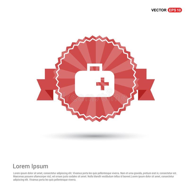 Ícone médico do jogo dos primeiros socorros - bandeira vermelha da fita ilustração do vetor