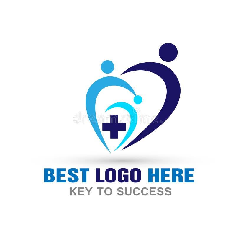 Ícone médico do logotipo do coração dos povos da cruz dos cuidados médicos no fundo branco ilustração do vetor