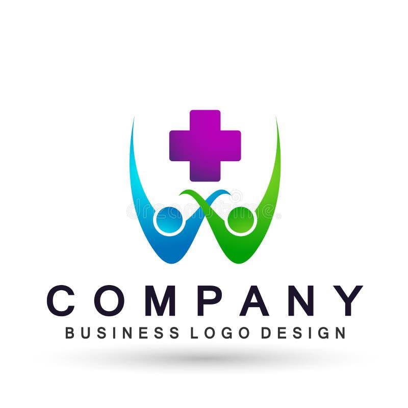 Ícone médico do logotipo do coração dos povos da cruz dos cuidados médicos no fundo branco ilustração royalty free