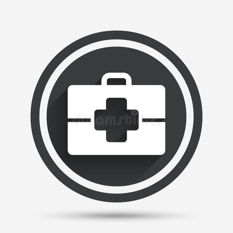 Ícone médico do sinal do caso Símbolo do doutor ilustração stock