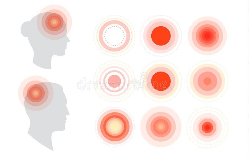 Ícone médico Dor de cabeça, dor na cabeça, enxaqueca, fadiga Molde simples liso do cartaz da informação médico ilustração do vetor