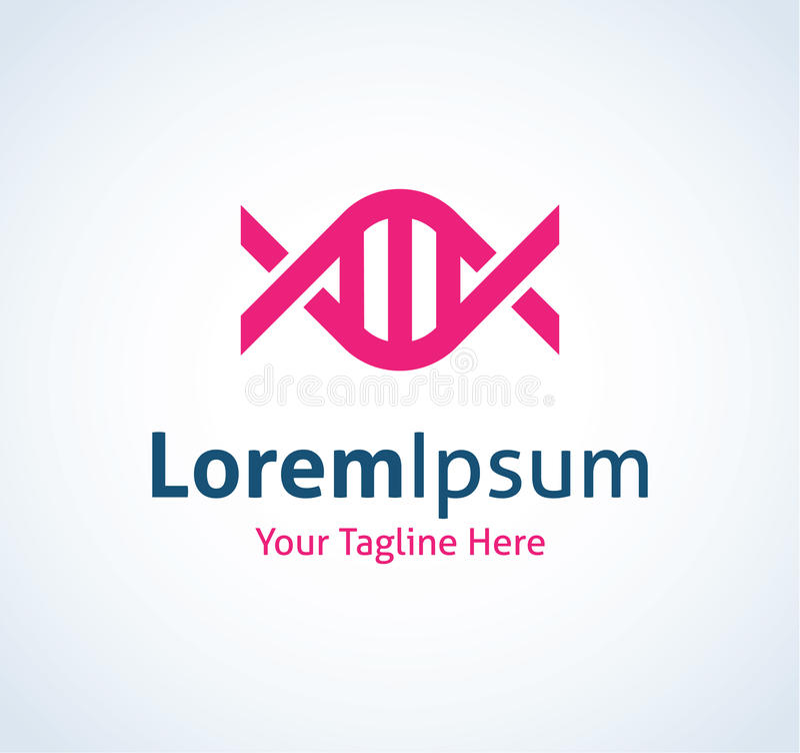 Ícone médico material do logotipo da espiral da corda do código genético do ADN ilustração stock