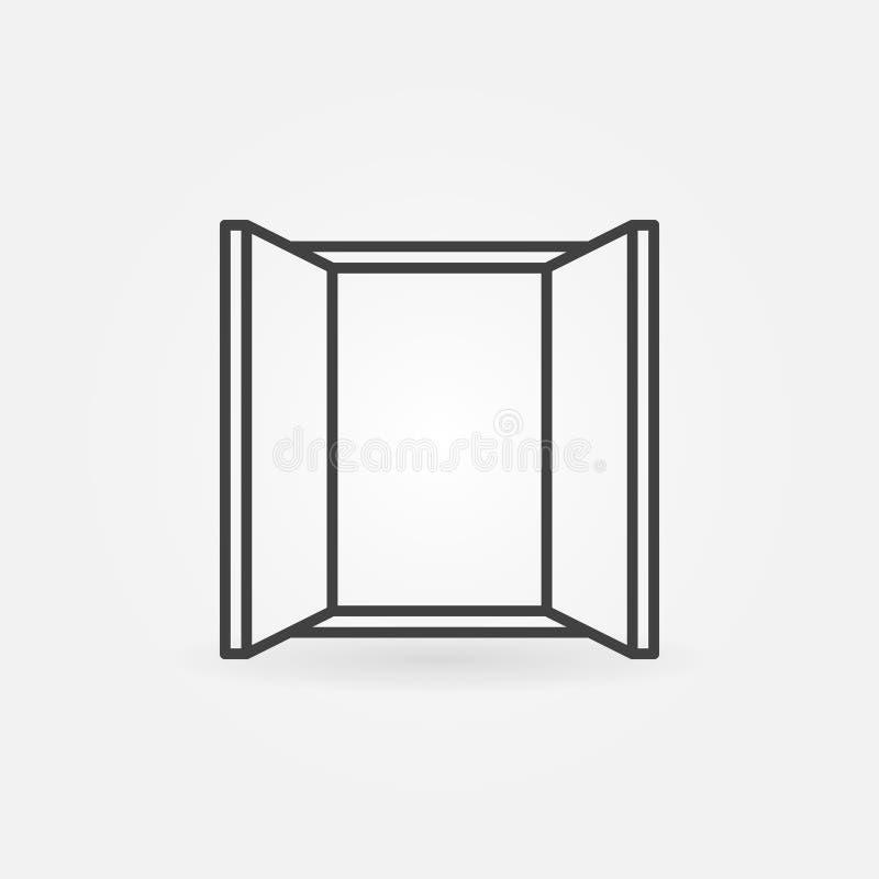 Ícone mínimo do conceito de janela do vetor na linha estilo fina ilustração royalty free