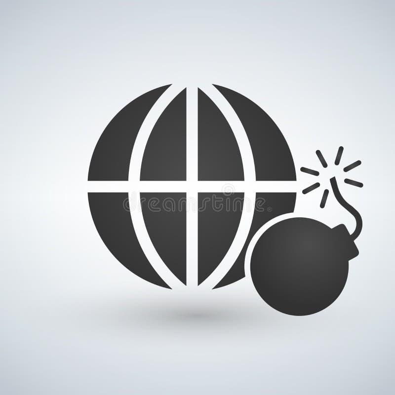 Ícone mínimo do globo com bomba, não ao terrorismo, explosão, nuclear, ilustração ilustração stock