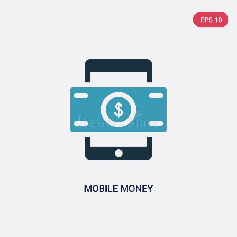Ícone móvel de duas cores do vetor do dinheiro do conceito do pagamento o símbolo móvel azul isolado do sinal do vetor do dinheir ilustração royalty free