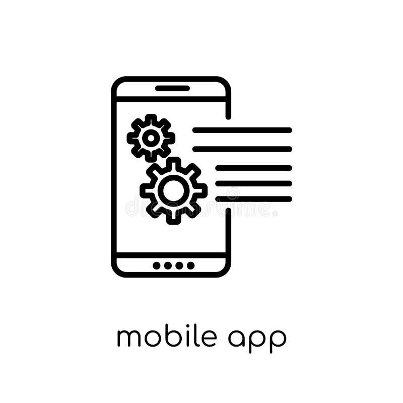 Ícone móvel do app Ico móvel do app do vetor linear liso moderno na moda ilustração do vetor