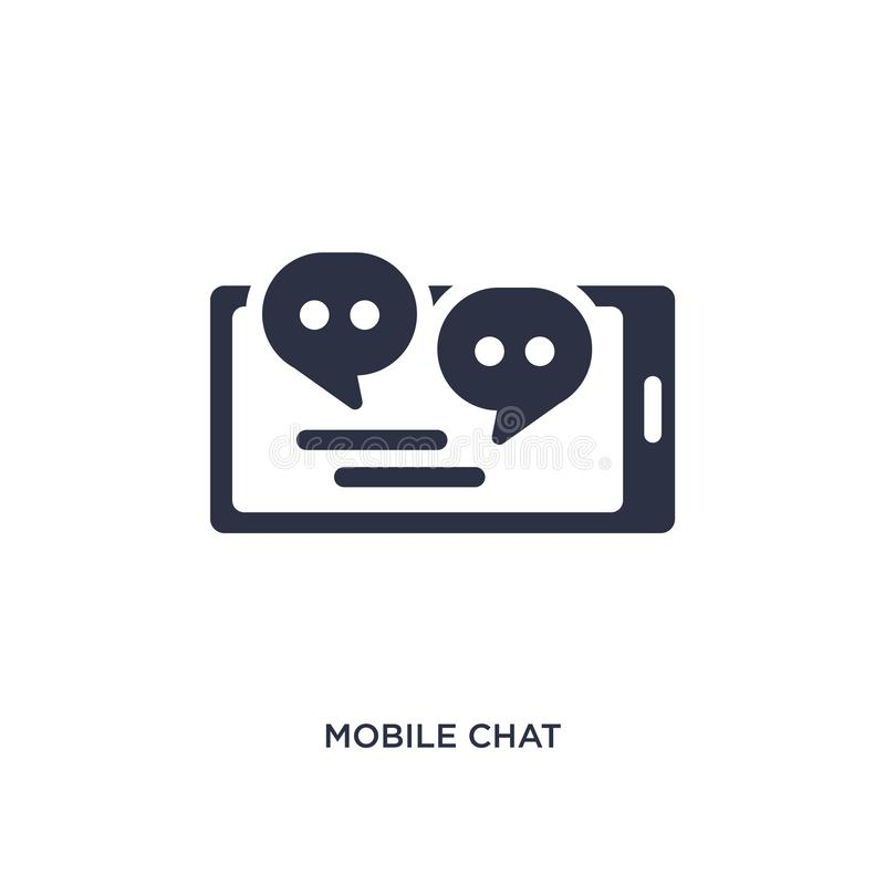 ícone móvel do bate-papo no fundo branco Ilustração simples do elemento do conceito de uma comunicação ilustração stock