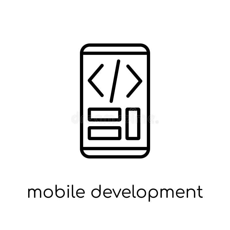 Ícone móvel do desenvolvimento Móbil linear liso moderno na moda do vetor ilustração royalty free
