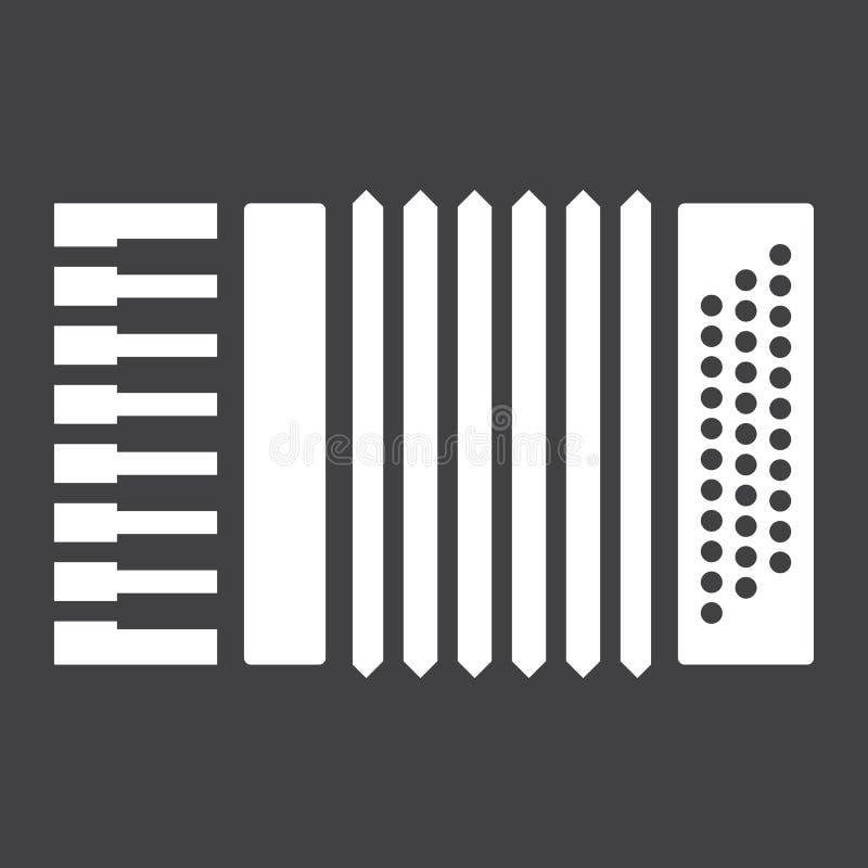 Ícone, música e instrumento do glyph do acordeão, ilustração royalty free