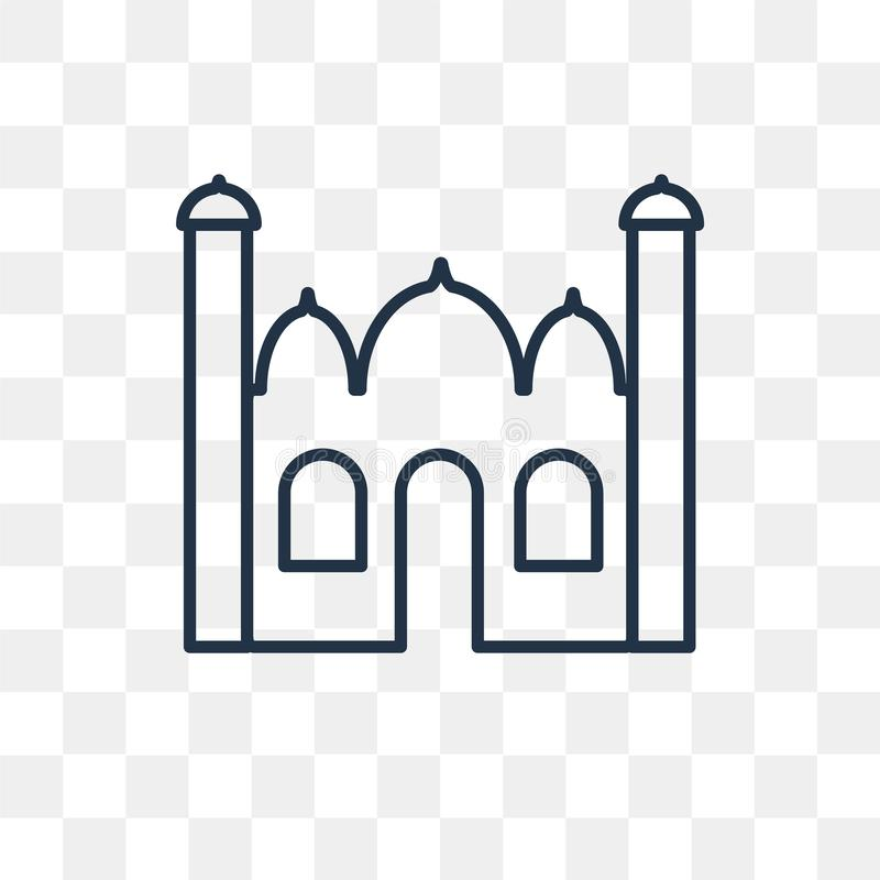 Ícone mahal do vetor de Taj isolado no fundo transparente, linear ilustração royalty free