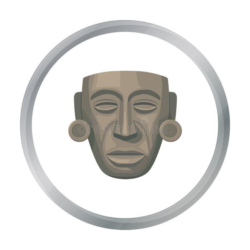 Ícone maia da máscara no estilo dos desenhos animados isolado no fundo branco Ilustração do vetor do estoque do símbolo do país d ilustração stock