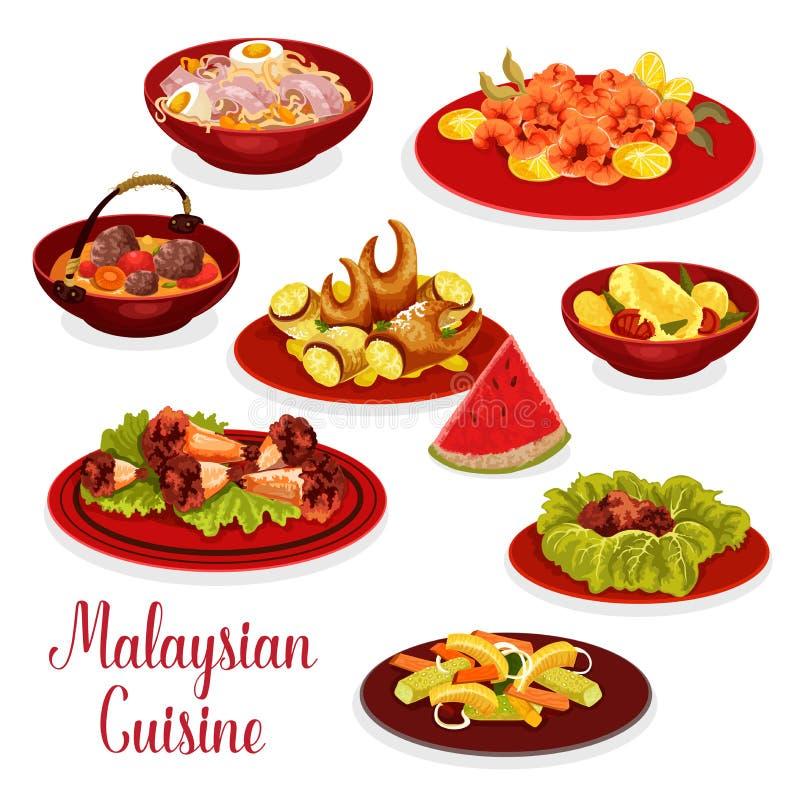 Ícone malaio do menu do jantar da culinária com alimento asiático ilustração stock
