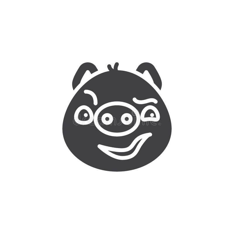 Ícone manhoso leitão do vetor do emoticon da cara ilustração stock