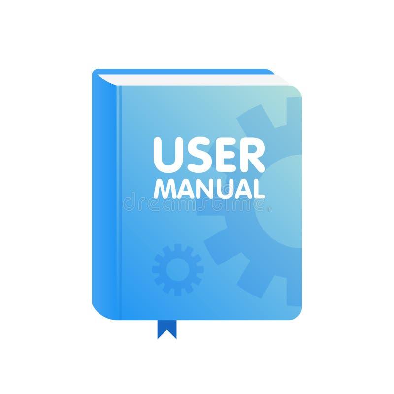 Ícone manual da transferência do livro do usuário Ilustração lisa ilustração stock