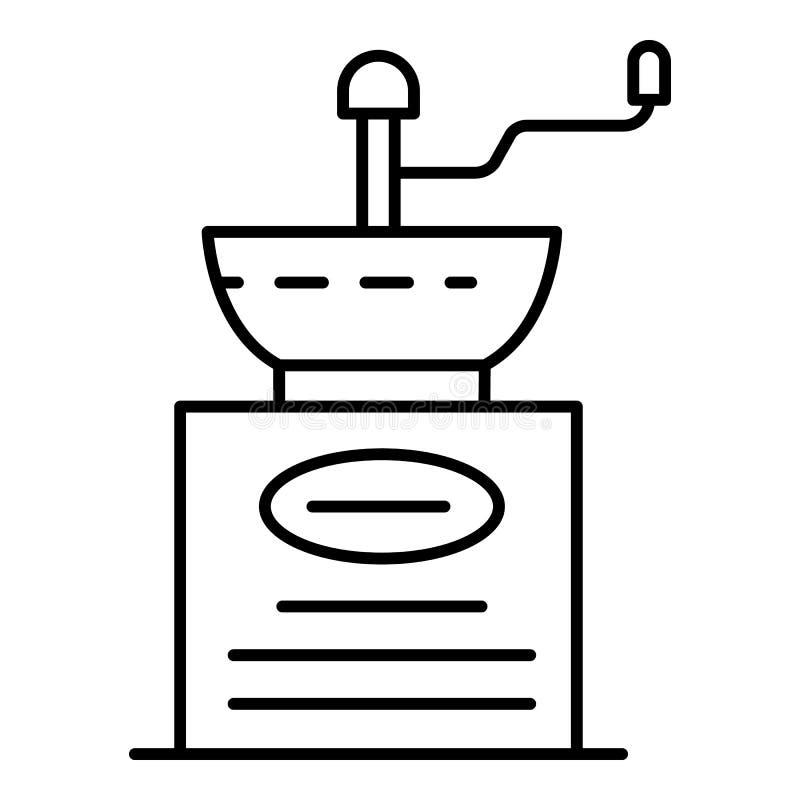 Ícone manual do moedor de café, estilo do esboço ilustração stock