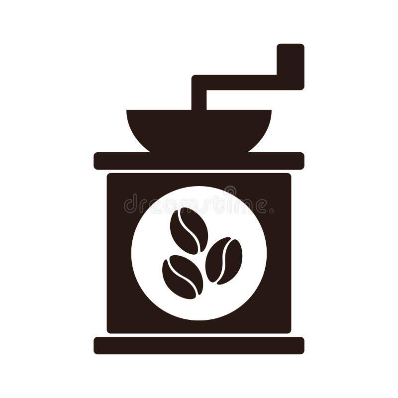 Ícone manual do moedor de café do vetor liso simples com feijões de café, ilustração do vetor