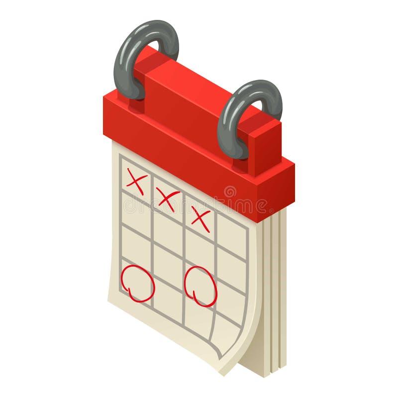 Ícone marcado do calendário, estilo isométrico ilustração stock