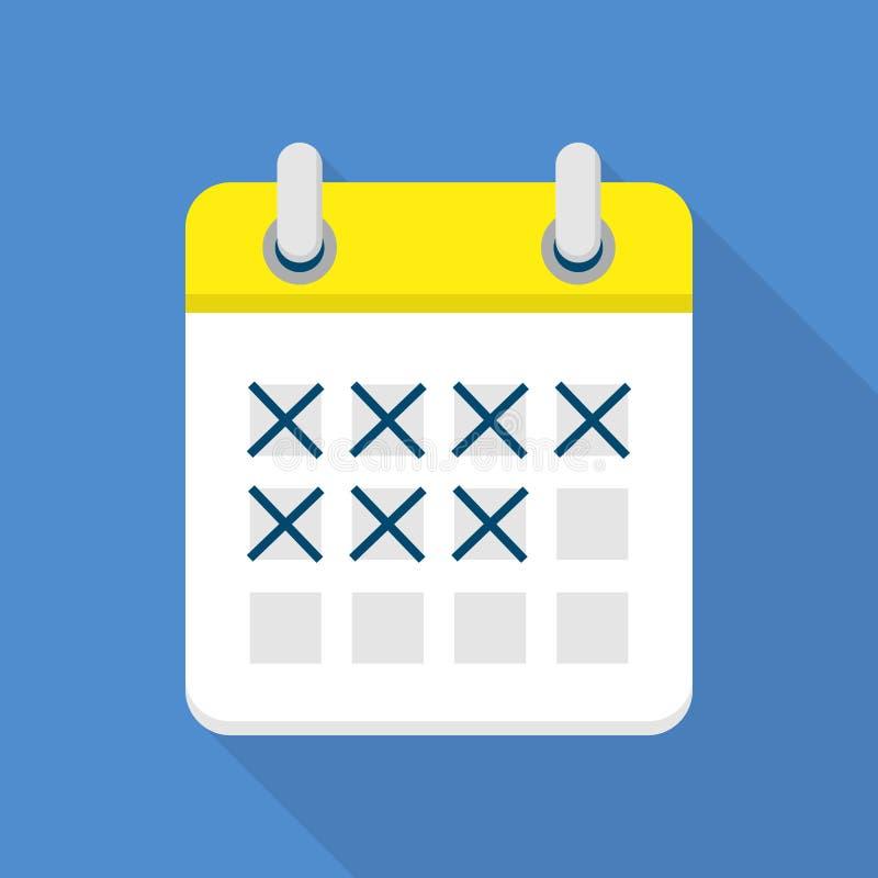 Ícone marcado do calendário, estilo liso ilustração do vetor