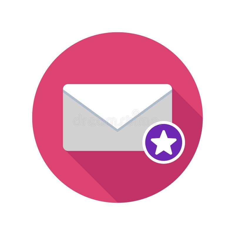 Ícone marcado do correio Ícone do email com sombra longa ilustração royalty free