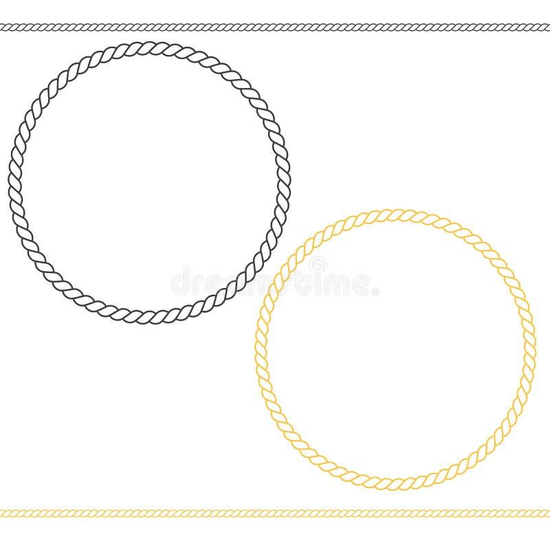 Ícone marinho redondo no fundo branco Estilo liso ícone para seu projeto do site, logotipo do quadro da corda, app, UI Linha fina ilustração do vetor