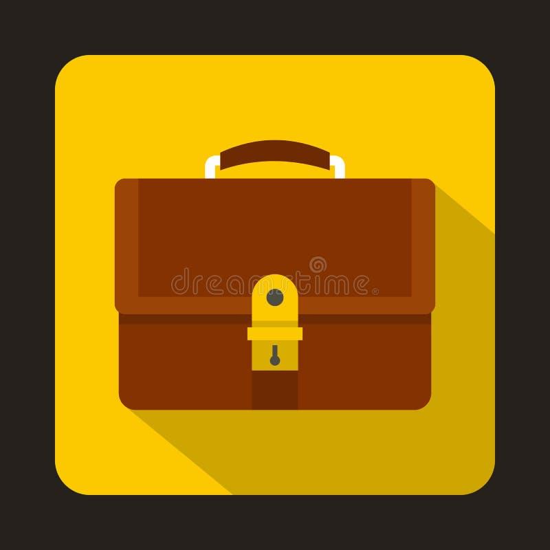 Ícone marrom da pasta do negócio, estilo liso ilustração do vetor