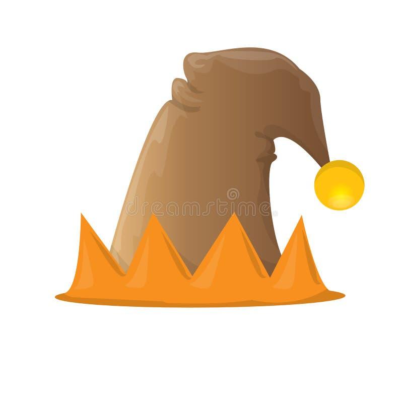 Ícone marrom funky ou etiqueta do chapéu do duende do vetor ilustração royalty free