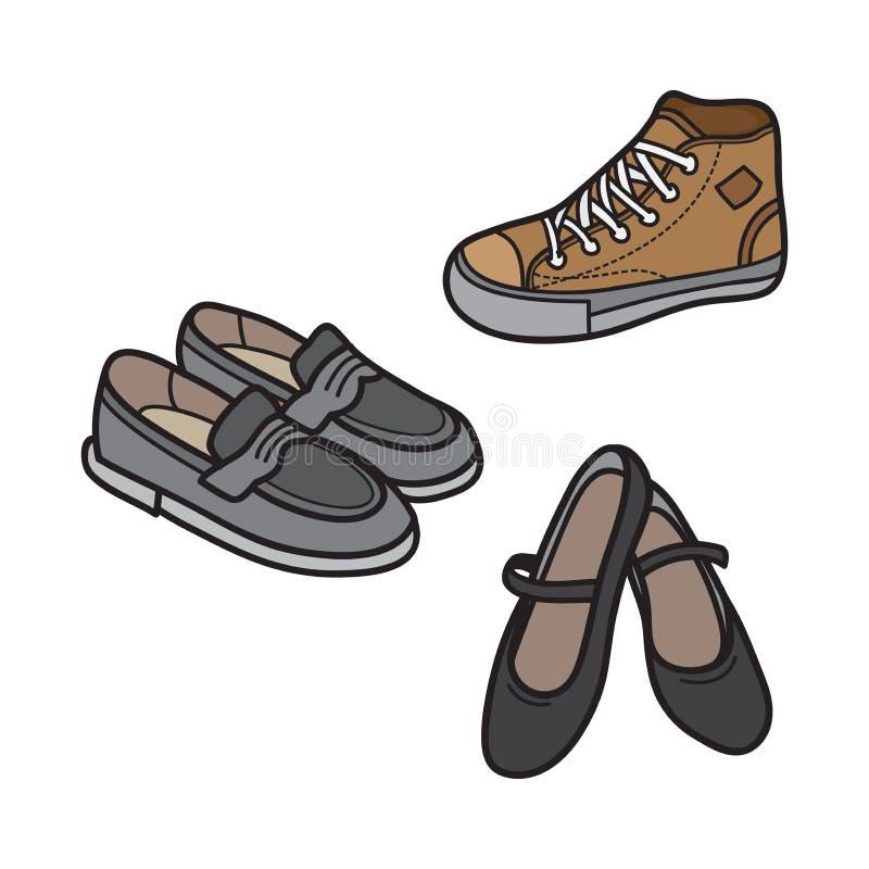 Ícone masculino e fêmea da sapata projeto liso minimalista ilustração stock