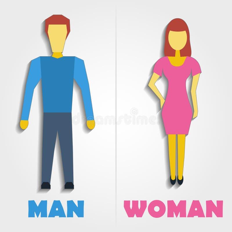 Ícone masculino e fêmea do símbolo do toalete Ilustração do vetor ilustração do vetor