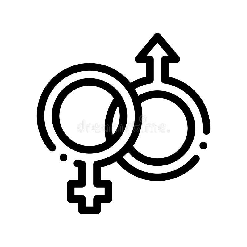 Ícone masculino e fêmea do vetor do casamento do sinal do gênero ilustração stock