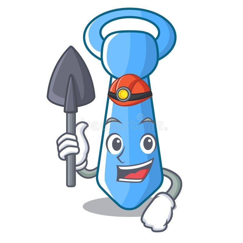 Ícone masculino listrado da gravata do mineiro nos desenhos animados ilustração do vetor