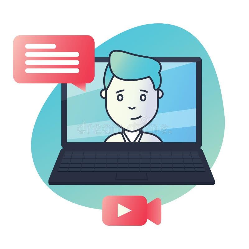 Ícone material do projeto para a educação, cursos video, cursos em linha, conceito de formação ilustração stock