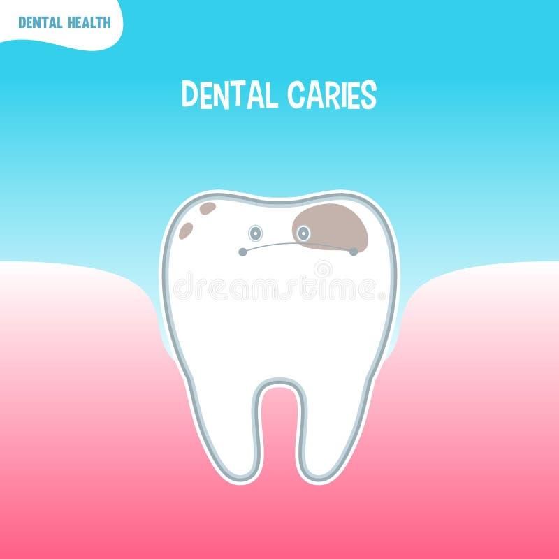 Ícone mau do dente dos desenhos animados com cárie dental ilustração royalty free