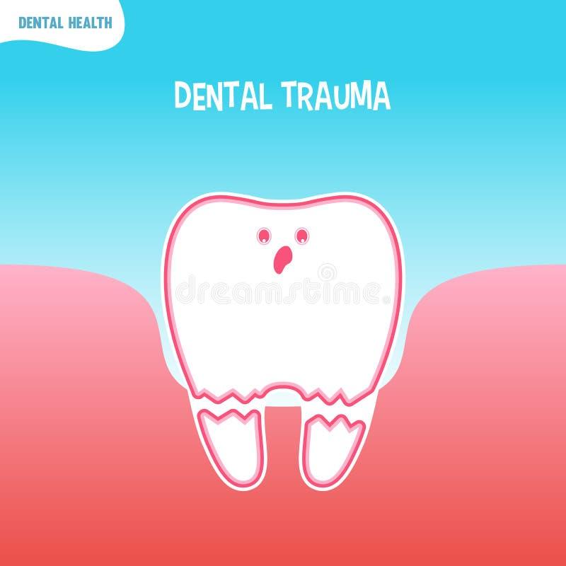 Ícone mau do dente dos desenhos animados com traumatismo dental ilustração do vetor
