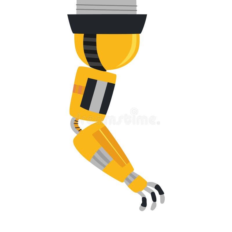 Ícone mecânico industrial do vetor do braço do robô Braço robótico amarelo ilustração do vetor