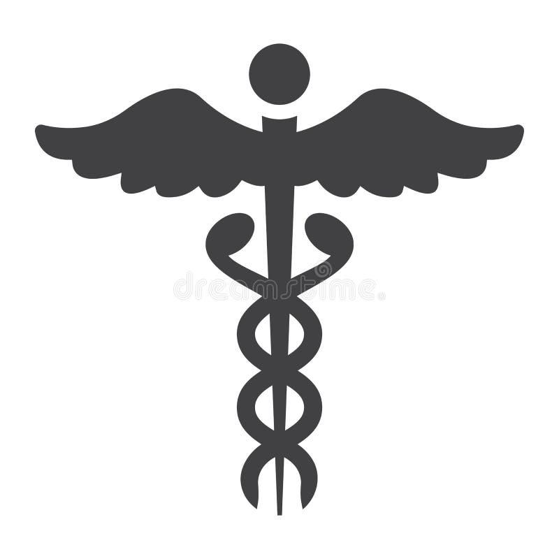 Ícone, medicina e cuidados médicos do glyph do Caduceus ilustração royalty free