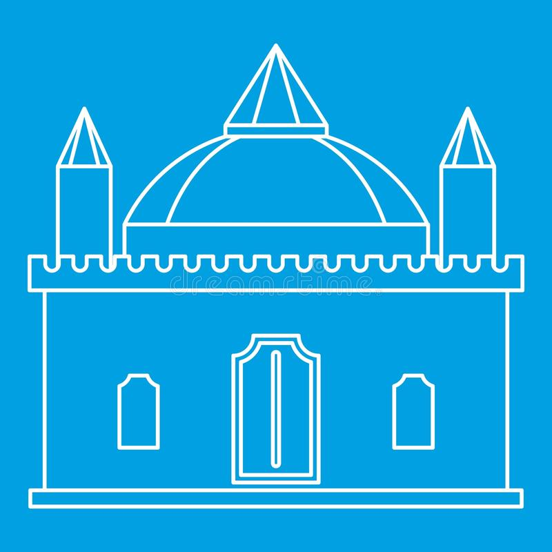 Ícone medieval do palácio, estilo do esboço ilustração royalty free