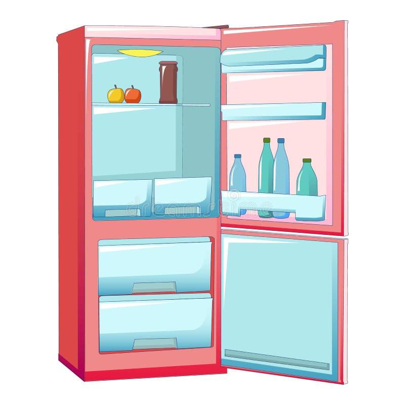 Ícone meio vazio do refrigerador, estilo dos desenhos animados ilustração royalty free
