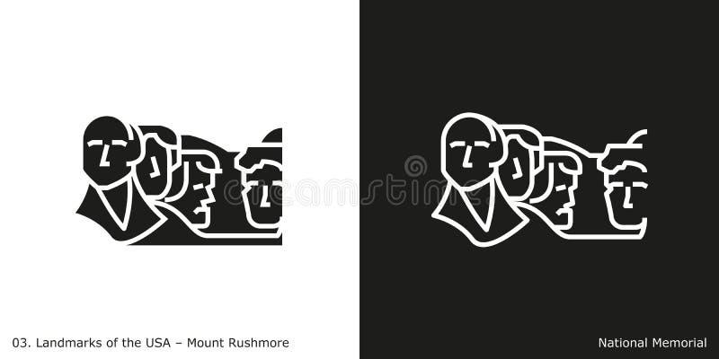 Ícone memorável nacional do Monte Rushmore ilustração do vetor