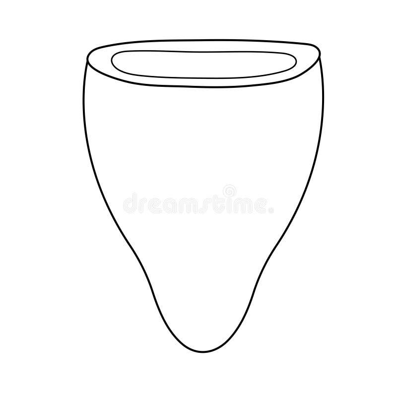 ?cone menstrual do copo no estilo do esbo?o Para an?ncios, loja, o compartimento da mulher ilustração do vetor