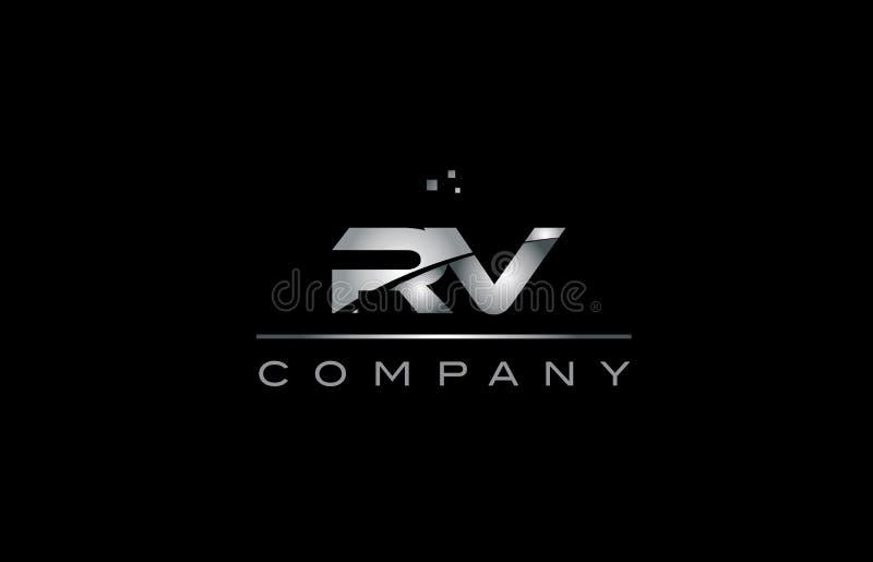 ícone metálico do logotipo da letra do alfabeto do metal do cinza de prata do rv r v ilustração do vetor