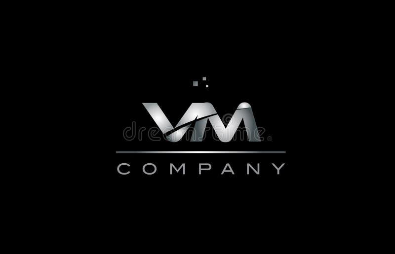 ícone metálico do logotipo da letra do alfabeto do metal do cinza de prata do vm v m ilustração stock