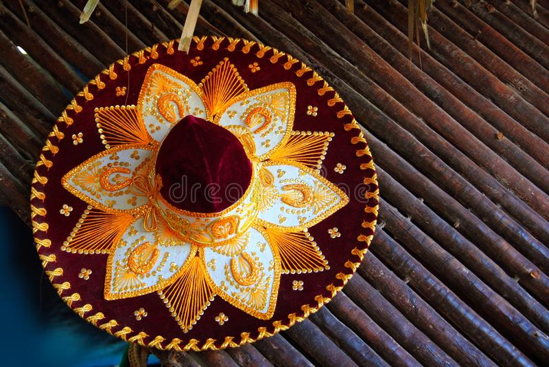 Ícone mexicano do chapéu do mariachi de Charro de México foto de stock royalty free