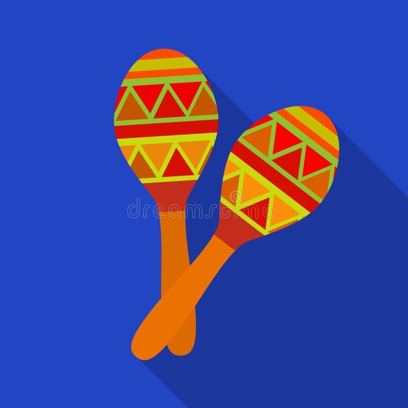 Ícone mexicano dos maracas no estilo liso isolado no fundo branco Ilustração do vetor do estoque do símbolo do país de México ilustração do vetor