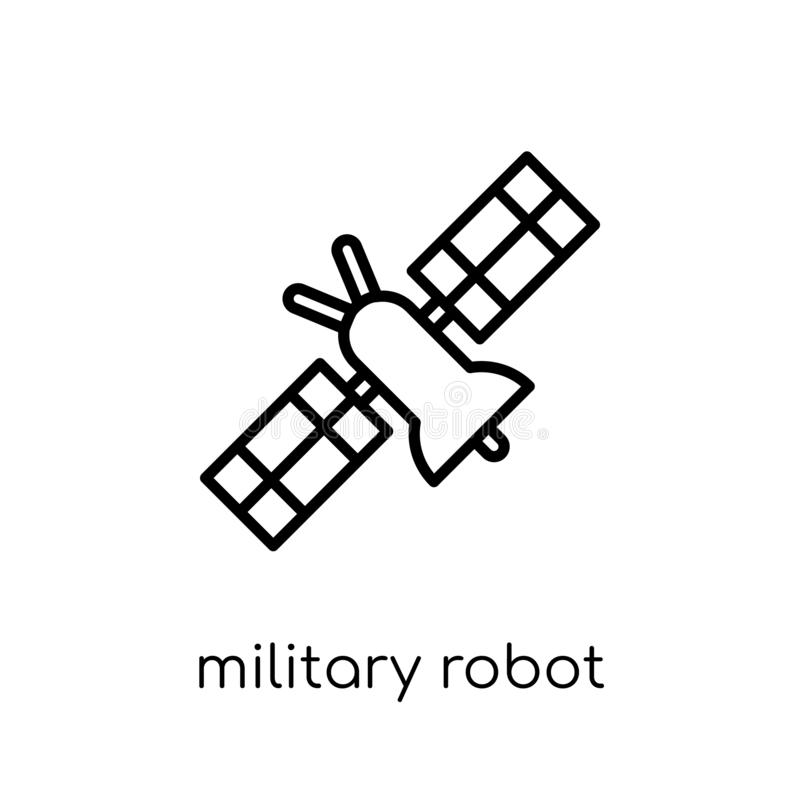 Ícone militar da máquina do robô da coleção do exército ilustração stock