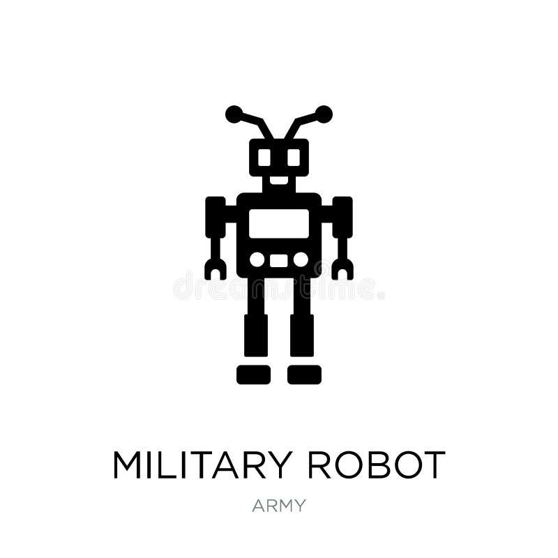 ícone militar da máquina do robô no estilo na moda do projeto ícone militar da máquina do robô isolado no fundo branco Robô milit ilustração do vetor