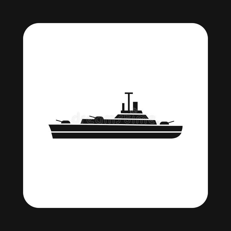 Ícone militar do barco da Armada, estilo simples ilustração royalty free