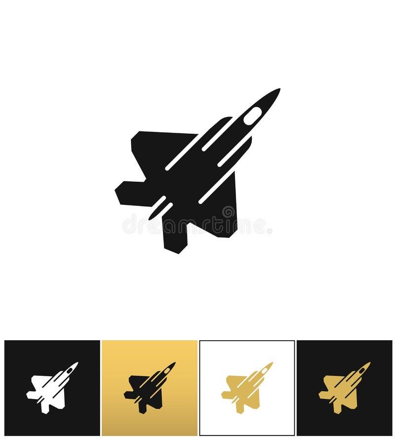 Ícone militar do plano ou do avião de combate do vetor da força aérea da marinha da força aérea ilustração royalty free