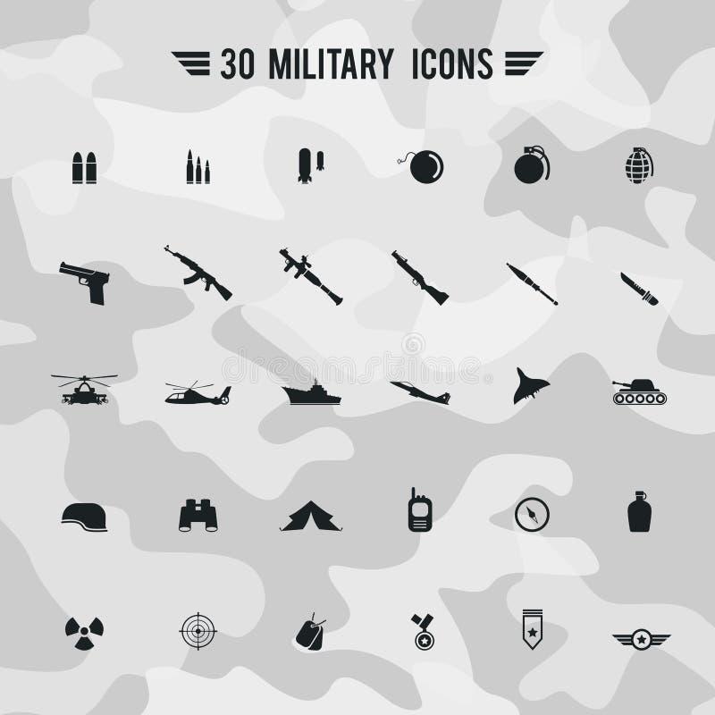 Ícone militar do transportion da arma do exército e do soldado da silhueta lisa ilustração royalty free